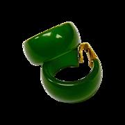 Vintage Green Bakelite Storestock Hoop Clip Earrings