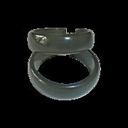 Vintage Storestock Bakelite Clip Earrings Lg Gray-Green Hoops
