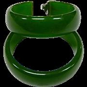 Green Bakelite Vintage Storestock Pierced Hoop Earrings