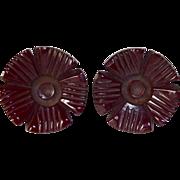 Carved Burgundy Bakelite Flower  Earrings