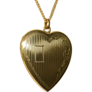 SALE Gold Filled Engraved Heart Locket & Chain