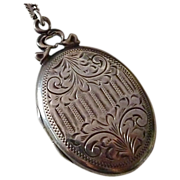 Antique Engraved Sterling Silver Aesthetic Locket & Chain