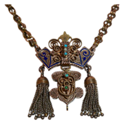 Extraordinary 14k Ornate Rose Gold Victorian Necklace