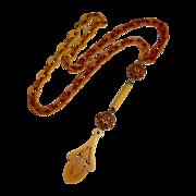 Art Deco Celluloid Long Flapper Drop Necklace