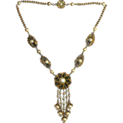 Brass Necklace Faux Pearl Pendant Graduated Drops