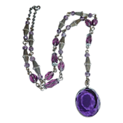 Art Deco Y Necklace Purple Glass Beads & Jewel