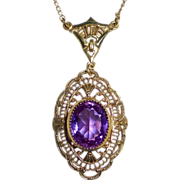 Art Deco Gold Filled Filigree Amethyst Glass Jewel Necklace