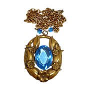 Gold Tone Blue Glass Jewel Necklace c1940s