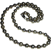 Sterling Silver Bead Necklace on Chain