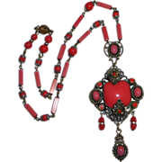 Ornate Victorian Revival Coral & Pink Glass Necklace