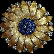 Quality 18K Flower Pin w Sapphires & Diamonds