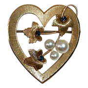 SALE Krementz Gold Filled Heart Pin Cultured Pearls & Sapphire Blue Jewels