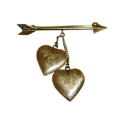 SALE Tiffany 14k Pin Arrow & Double Hanging Hearts