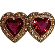 SALE Victorian Revival Double Red Glass Hearts GF Embossed Frame