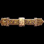 Antique Victorian Gilt & Rose Gold Top Bar Pin