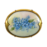 Victorian Large Hand Painted Porcelain Forget-Me-Nots Pin