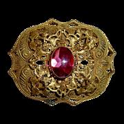 Victorian Gilt Brass Pink Glass Jewel Sash Ornament Pin