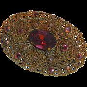 Victorian Revival Brass Filigree Pin Purple Glass Jewels