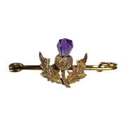 Antique Victorian Gold Filled Amethyst Thistle Pin