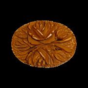 Carved Butterscotch Bakelite Rose Bouquet Pin
