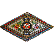 Fine Victorian Ornate Italian Glass Mosaic Pin