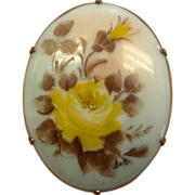 Victorian Hand Painted Signed Yellow Roses Porcelain Pin