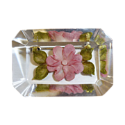 Reverse Carved Lucite Pink Posy Flower Pin