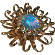 Opalescent Rivoli Rhinestone Sarah Coventry Chrysanthemum Pin