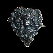 Art Nouveau Sterling Front Pin Woman w Poppies