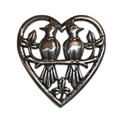 SALE Corocraft Sterling Lovebirds in Heart Pin