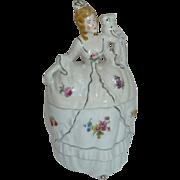 Victorian Revival Woman w Parrot Porcelain Powder Jar