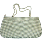 Vintage Whiting Davis Purse Ivory Enamel Metal Mesh