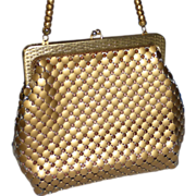 Whiting Davis Purse Matte Gold Metal Mesh