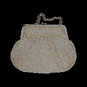 White Bead & Cream Sequin Evening Bag