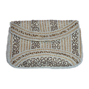 Art Deco Beaded & Faux Pearl Petite Clutch Purse