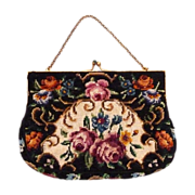 Silk Needlepoint Purse Rose Floral Design