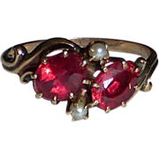 Victorian 10k Rose Gold Ring Seed Pearls & Synthetic Spinel