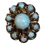 14k Yellow Gold Opal Cluster Ring c1960s