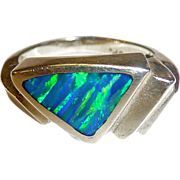 Extraordinary 14k Modernist Black Opal Ring