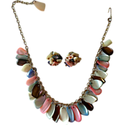 Tinted Mother of Pearl Bib Necklace & Earrings Set