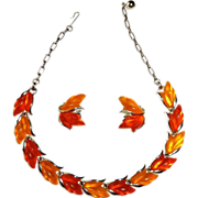 Glowing Shades of Orange Lucite Necklace & Earrings Set