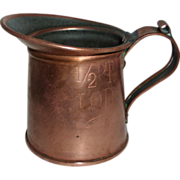 Copper Half Pint Tankard Cup Stamped NYC