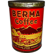 Berma Coffee Tin-Grand Union Great Graphics!