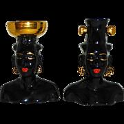 Exotic Blackamoor Pair of Head Vases ♀ ♂