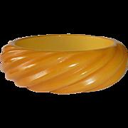 Rounded Carved Diagonal Line Pattern Butterscotch Bakelite Bangle Bracelet