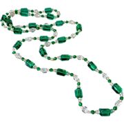 Art Deco Sea Green & Clear Flapper Bead Necklace
