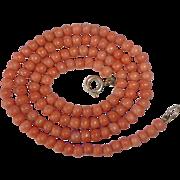 Antique Genuine Salmon Coral Bead Necklace