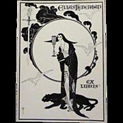 Original Art Nouveau Bookplate~ Woman & Panther ~Elias Leiberman