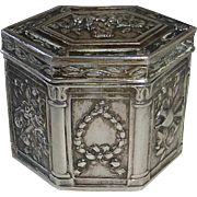 800 Silver Repousse Hexagonal Hinged Box