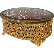 Gold Tone Metal Filigree & Beveled Glass Trinket Box